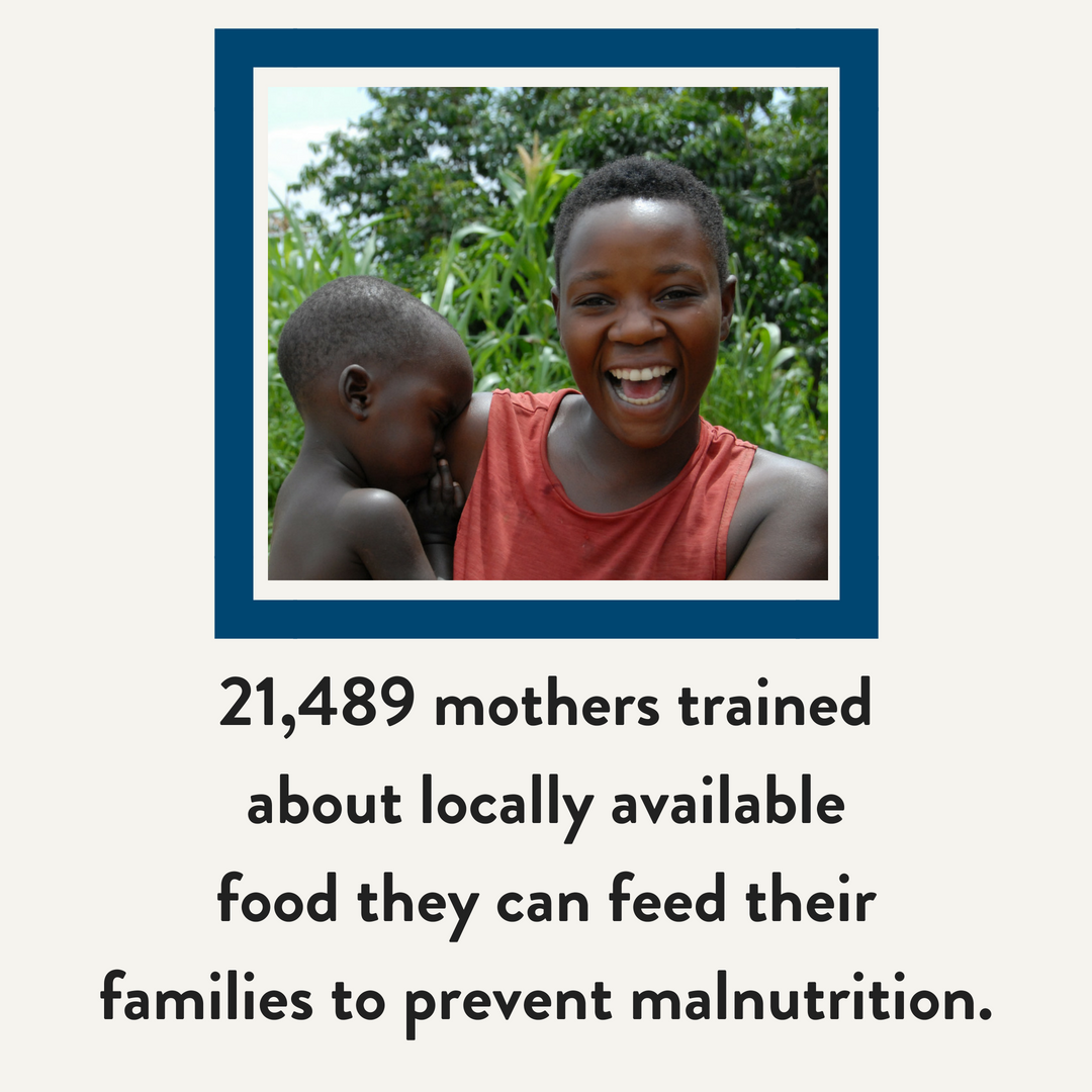 21,489 mothers trained about locally available food they can feed their families to prevent malnutrition