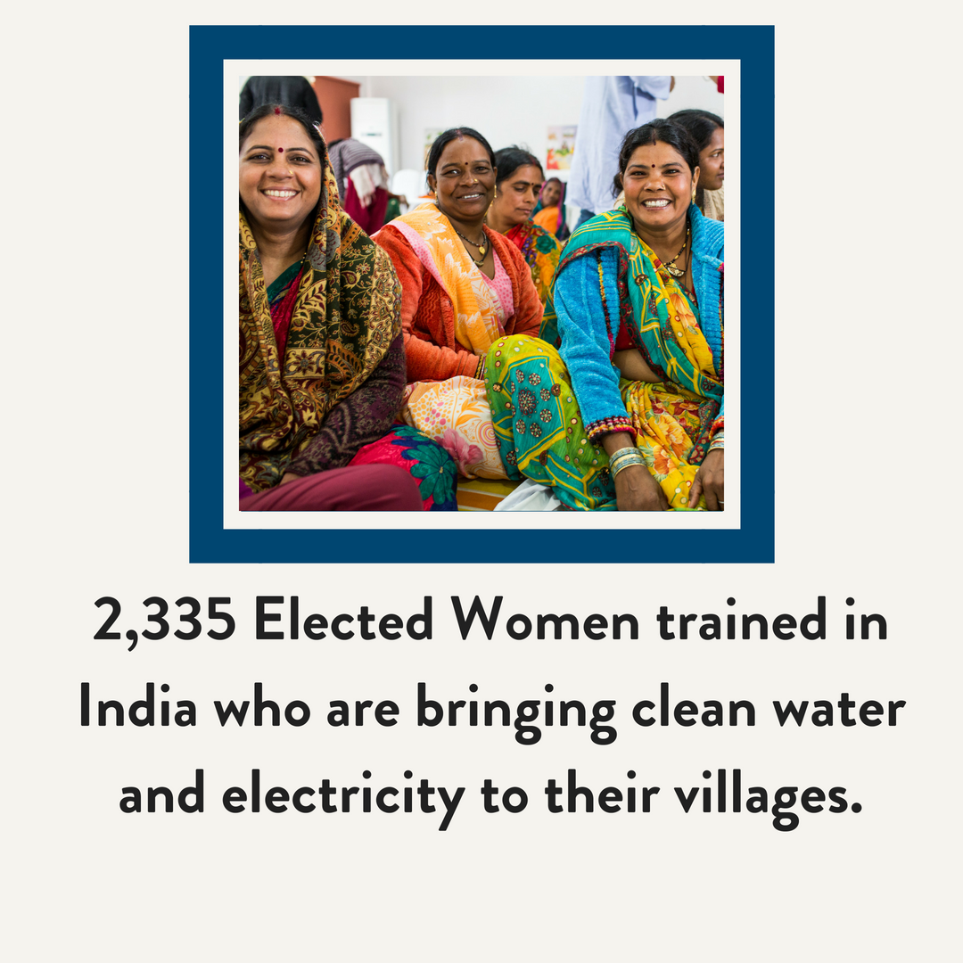 2,335 Elected Women trained in India who are bringing clean water and electricity to their villages.